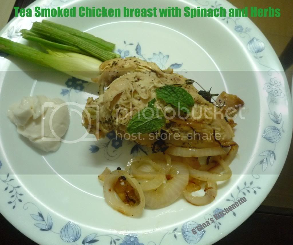 Tea Smoked Chicken Breast with Spinach and Herbs