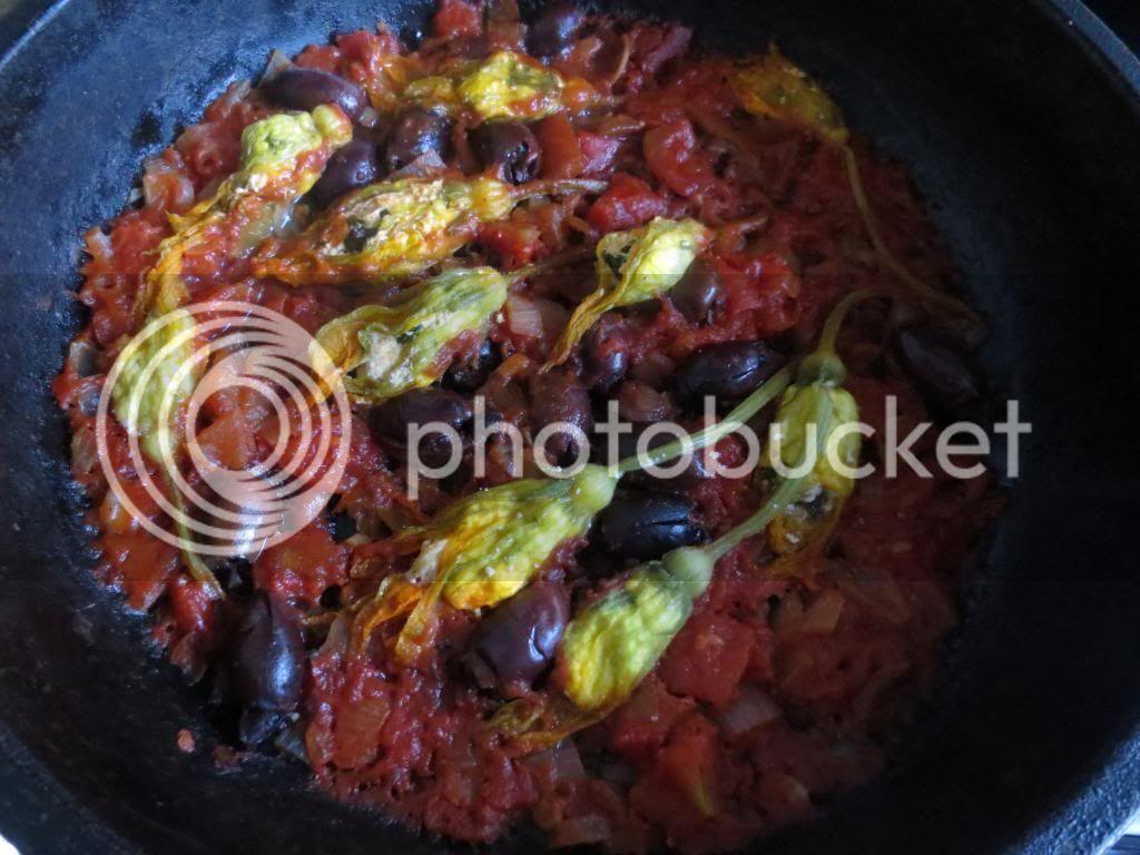 Jamie's Stuffed Zucchini Flowers in Tomato Sauce