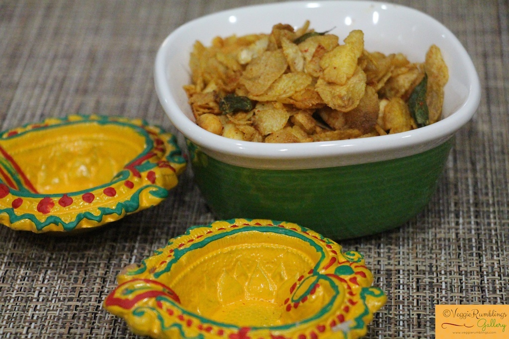 Cornflakes, Poha and Nuts Chivda – Low fat and easy !