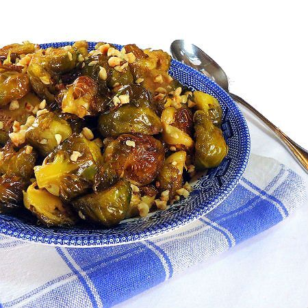 Roasted Brussels Sprouts with Maple Syrup and Toasted Hazelnuts