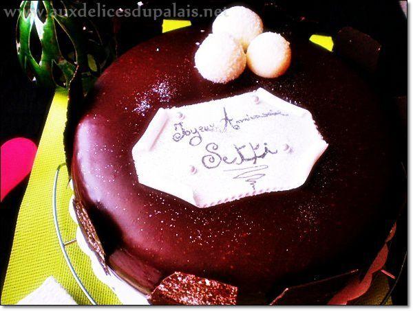 Gâteau d'anniversaire à la crème noix de coco chocolat