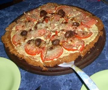 Pizza de cebada, con queso de choclo