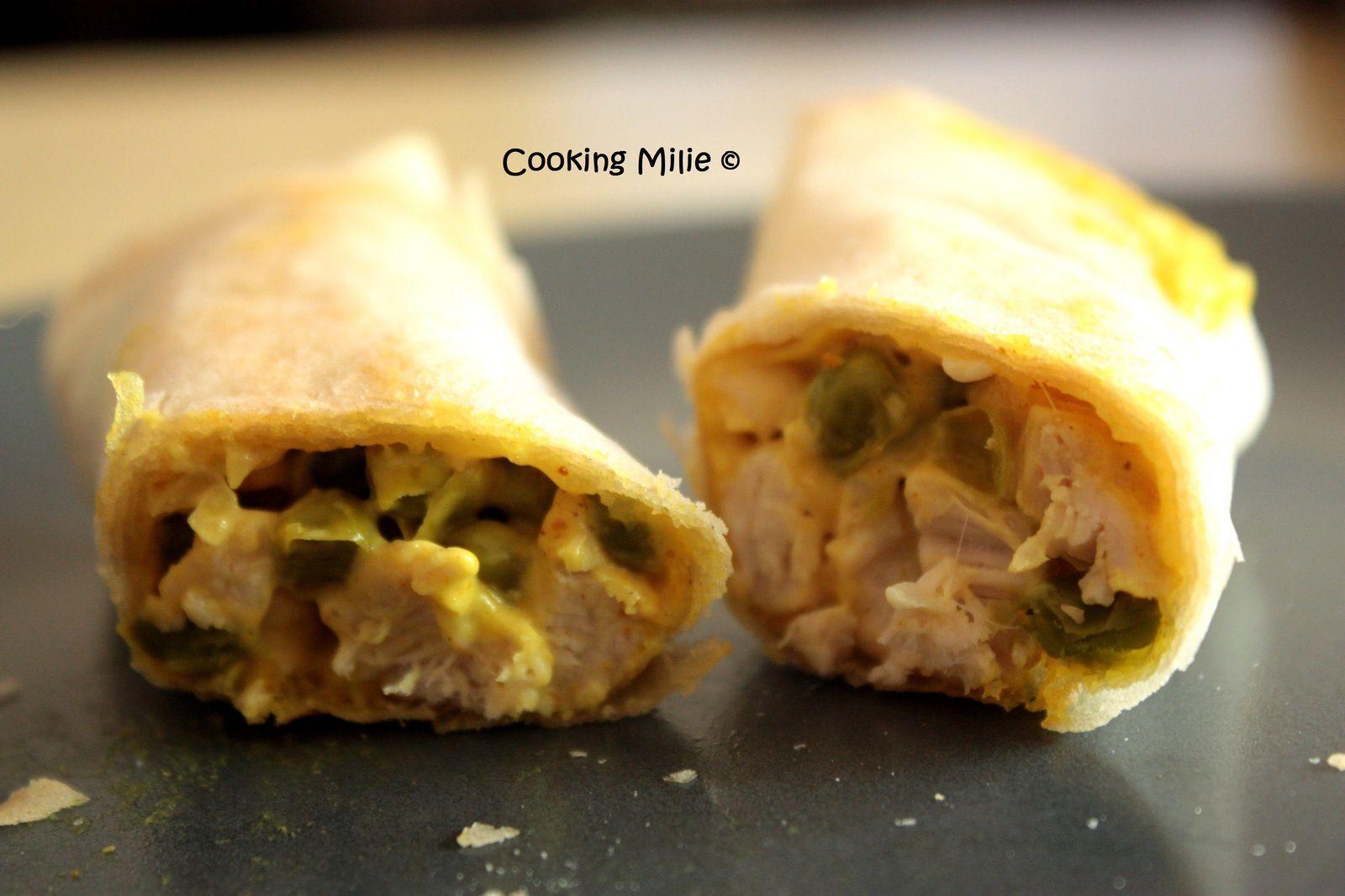 Apéritif dinatoire #25 - Bricks au poulet, vache qui rit® au curry et petits pois