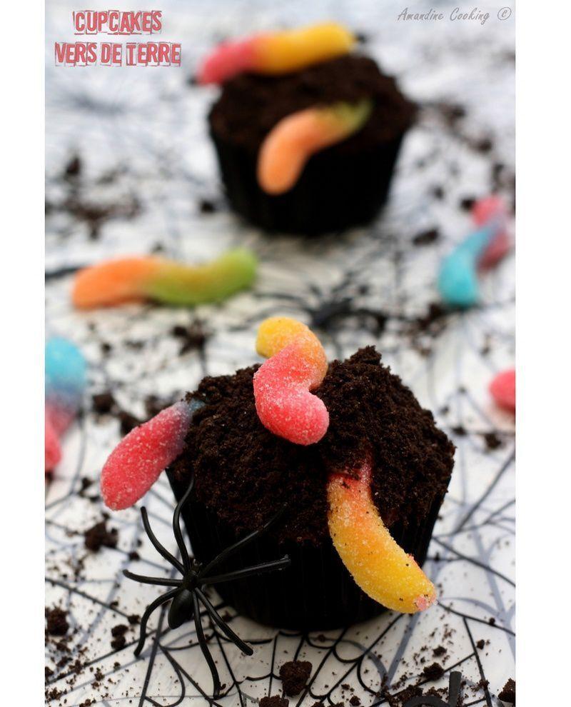 "Cupcakes ""Vers de terre"" pour Halloween"