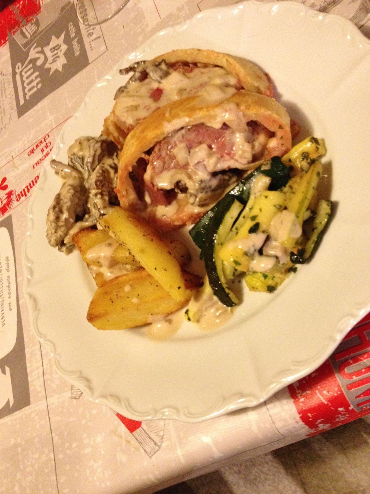 Magret de canard en croute de parmesan aux morilles