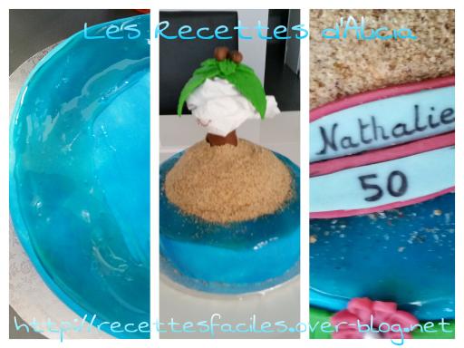 Effet eau et sable sur pâte à sucre
