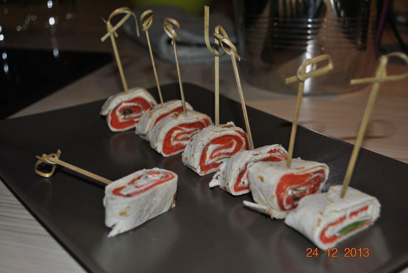 Wraps saumon fumé, fromage fines herbes