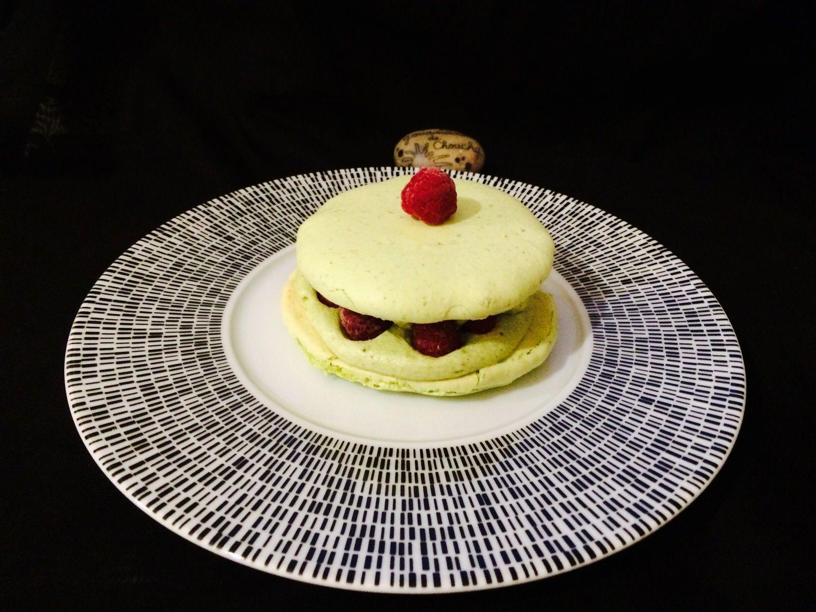 Macarons pistache framboise de Christophe Felder (version géant ou individuel)