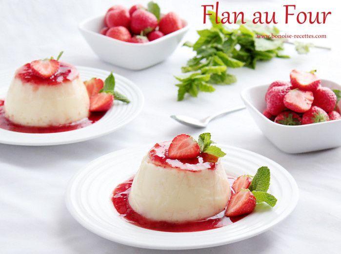 flan au four vanille/fraises