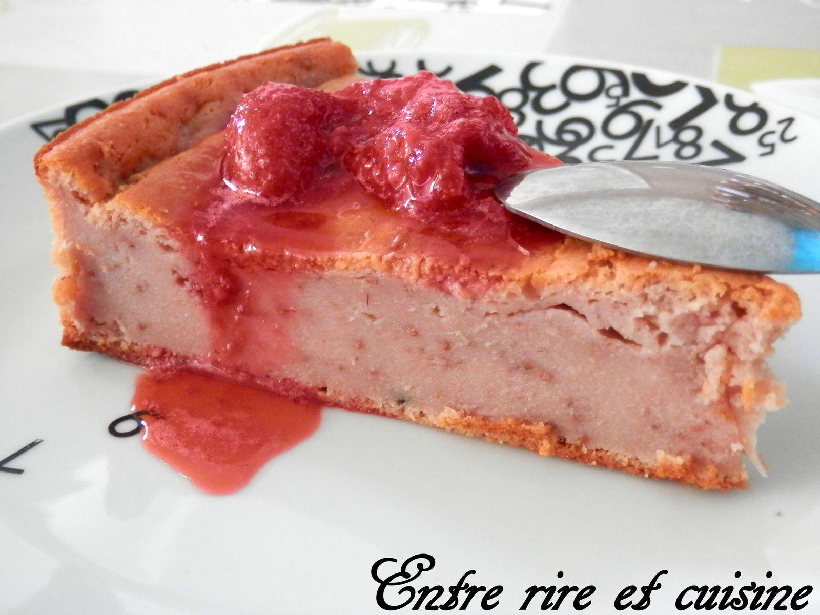 Gâteau aux fraises compotées