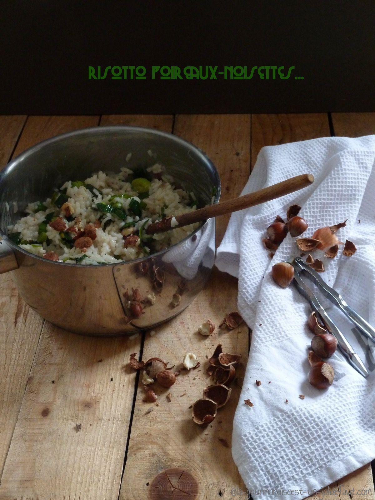 Risotto aux poireaux et aux noisettes