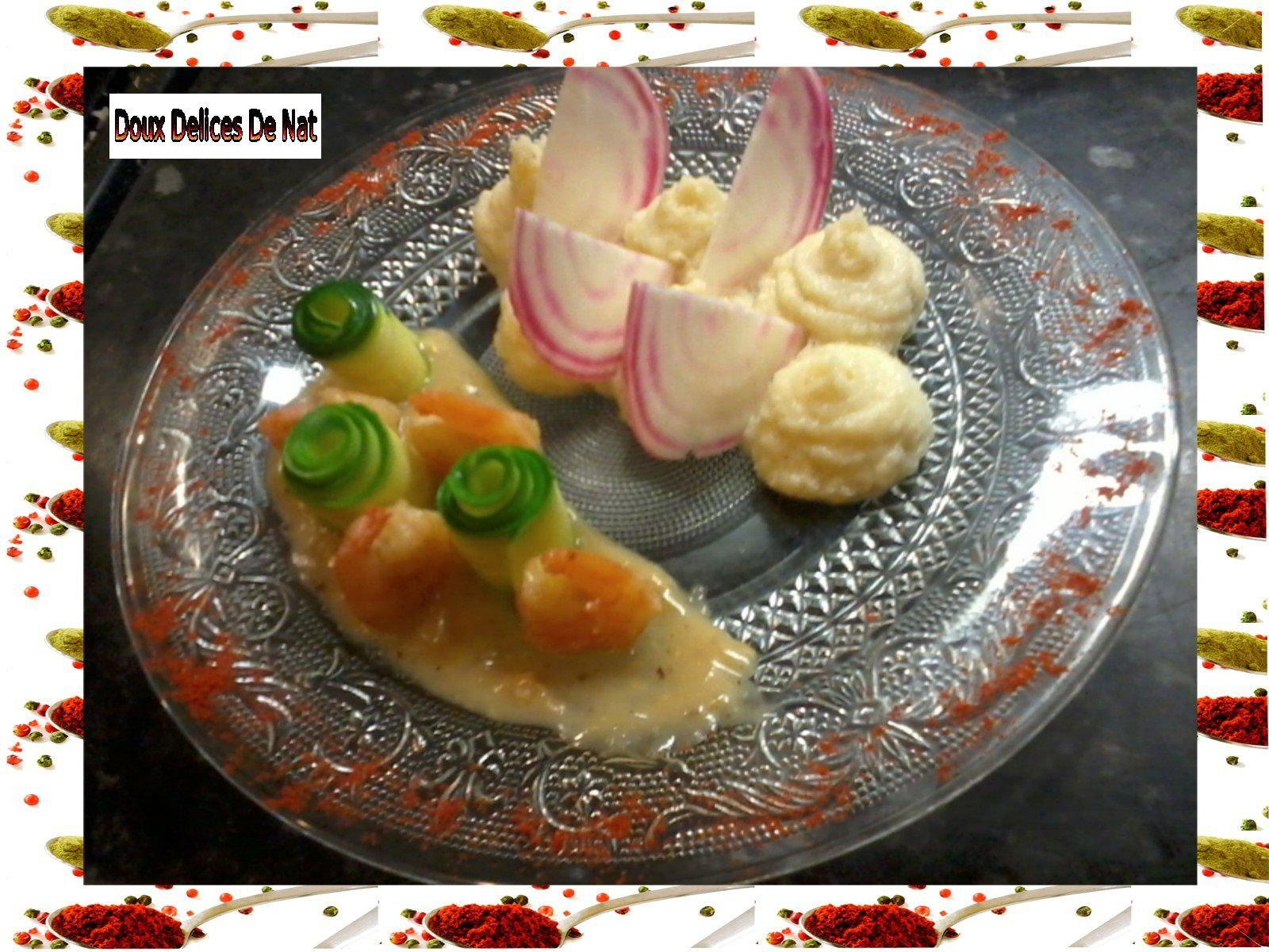 Purée de chou- fleur , crevettes sauce au chocolat blanc :