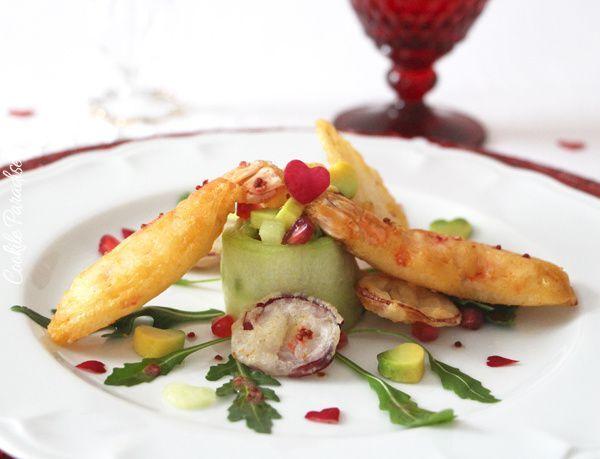 Makis de concombre-avocat tropical à la grenade, tempura de langoustines & ces légumes-racine à la sauce aigre-douce rose  - {Battle food # la 28ème - saint valentin}