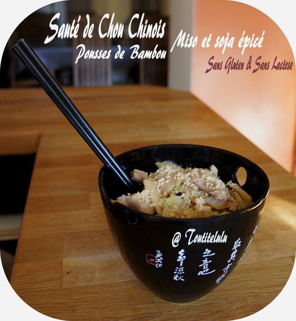 Sauté Japonais de Chou Chinois, pousse de bambou et sauce miso-soja épicée sans gluten, sans lactose