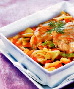Colin aux légumes et pommes de terre