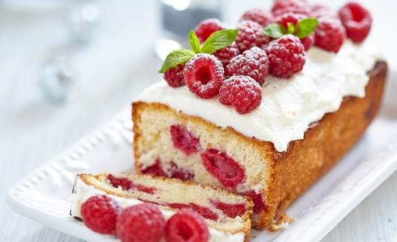 Kage med hindbær