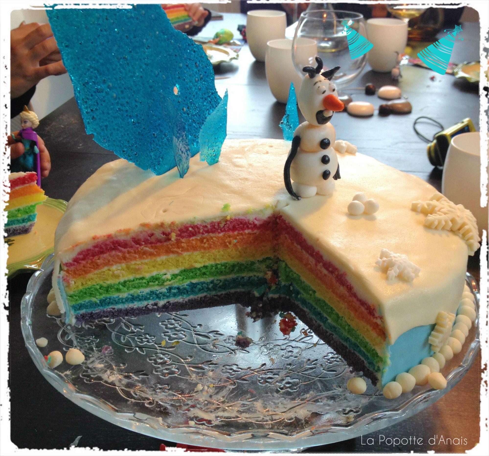 """Rainbow Cake """"La Reine des Neiges"""" pour souffler 4 bougies …"""