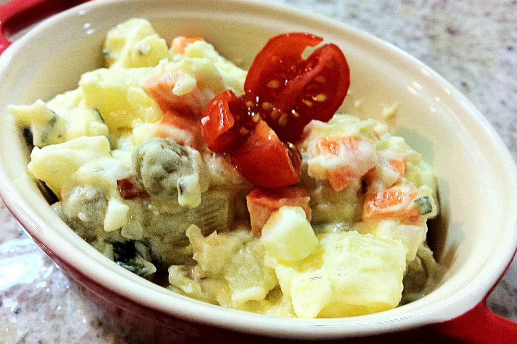 maionese de batata com ovo cozido