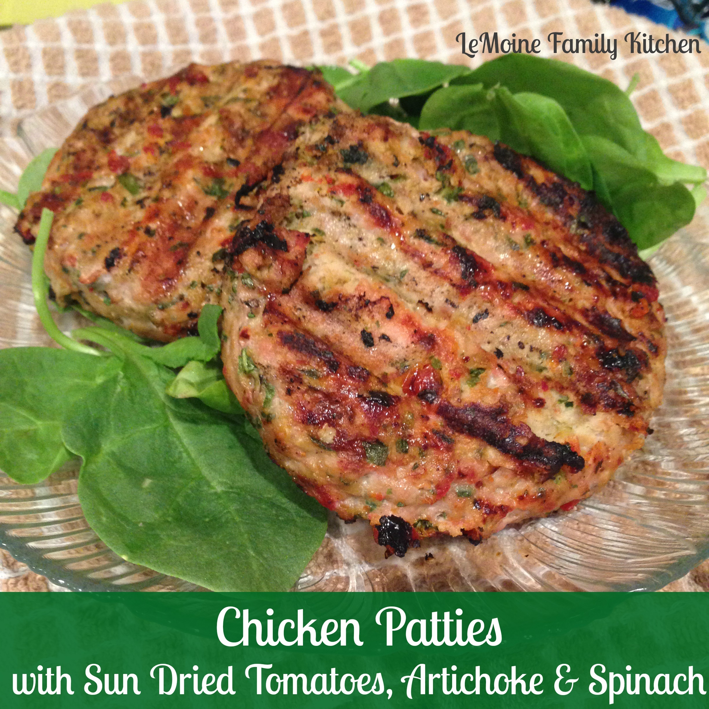 Chicken Patties with Sun Dried Tomatoes, Artichoke Hearts & Spinach