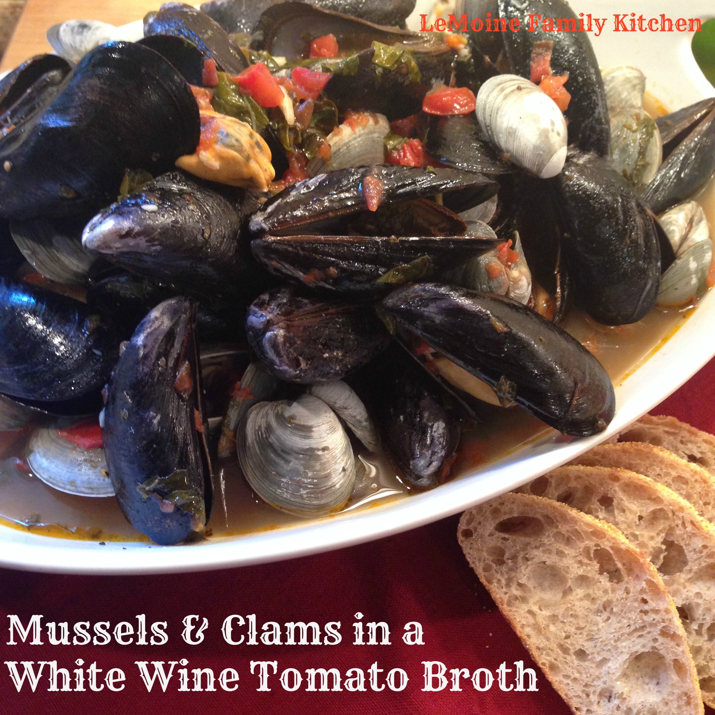 Mussels & Clams in a White Wine Tomato Broth
