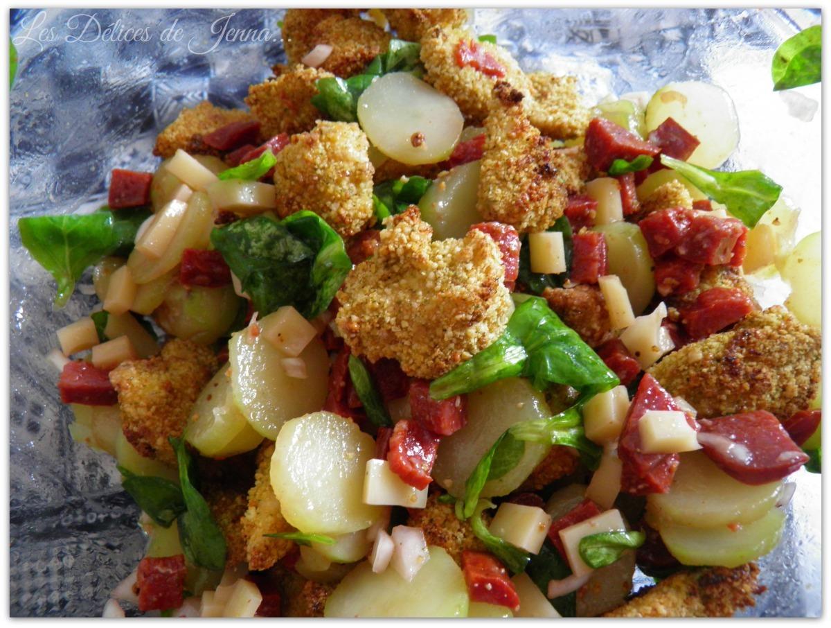 Salade de pomme de terre, Poulet crunchy et chorizo