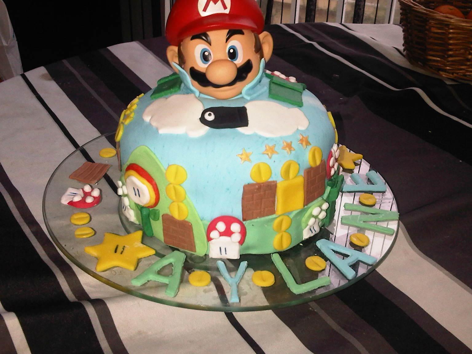 Mario party…. Gâteau yaourt chocolat crème à la vanille