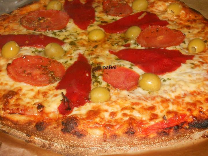 Pizza con harina de garbanzo