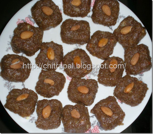 Homemade Nutritious Nutrela Burfi - without Khoya by Arpana (my SIL)