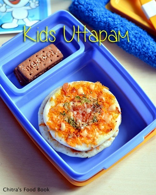 CHEESY MINI UTTAPAM-KIDS LUNCH BOX RECIPES