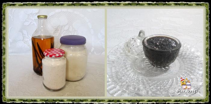 Açúcar, extrato e pasta de baunilha