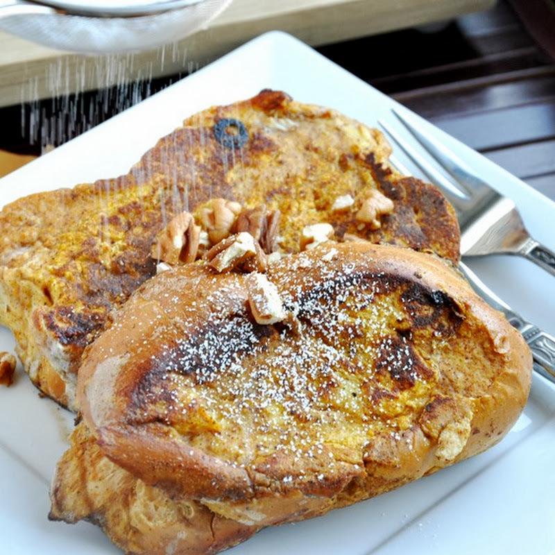 Pumpkin Pie French Toast… a healthier treat.