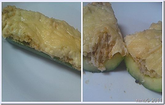 Zapečene tikvice punjene bulgurom i sirom/Baked zucchini stuffed with bulgur and cheese