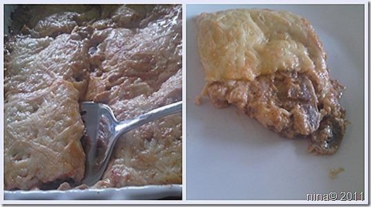 Zapečeni krmići sa sirom i šampinjonima/Baked pork chops with cheese and mushrooms