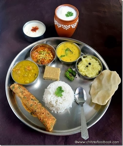 Gujarati Thali-Dal,Sev Tamatar Curry,Kadhi,Green Chilli Pickle