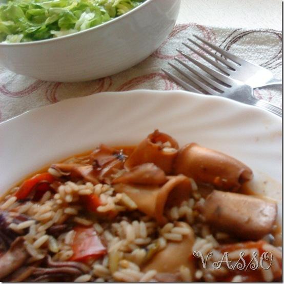 Lignje sa rižom u šerpi