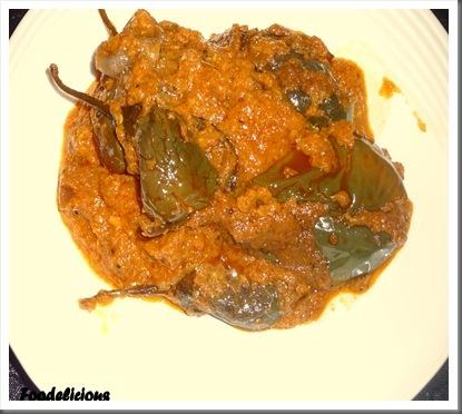 Bharleli Vaangi,(Stuffed Eggplant) Version II