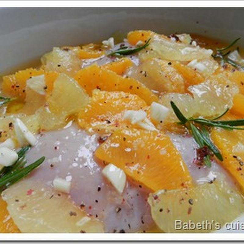 Variations autour des agrumes…ou comment la zapette m'apporte des idées de souper…et finit par me faire gagner du temps…..