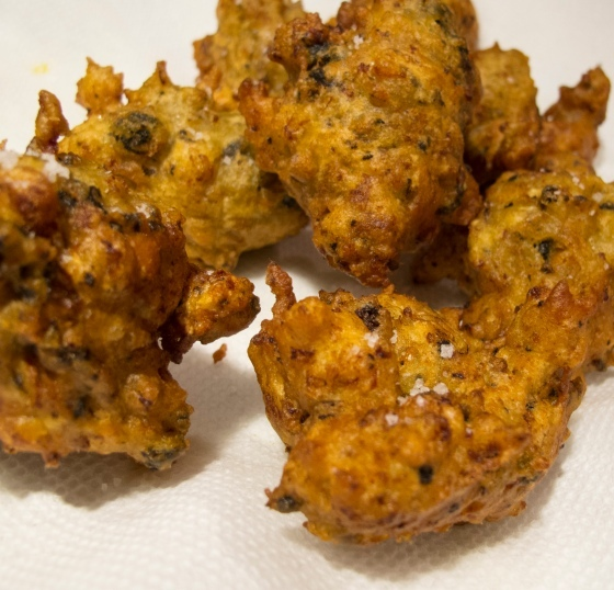 mussel fritters with kumara
