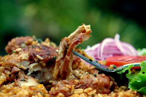 arroz con choritos y camarones