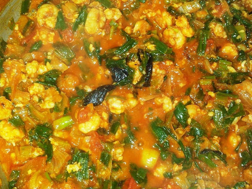 Prawns and Spring Onions Masala Sabzi in my Mom's style