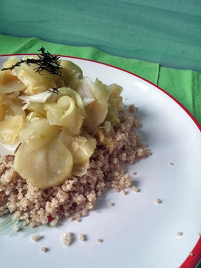 Fokhagymás sült patiszon quinoiával