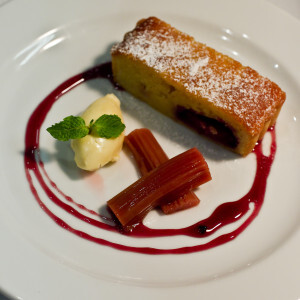 Rhubarb Frangipane tart w honey mascarpone and mulled wine syrup