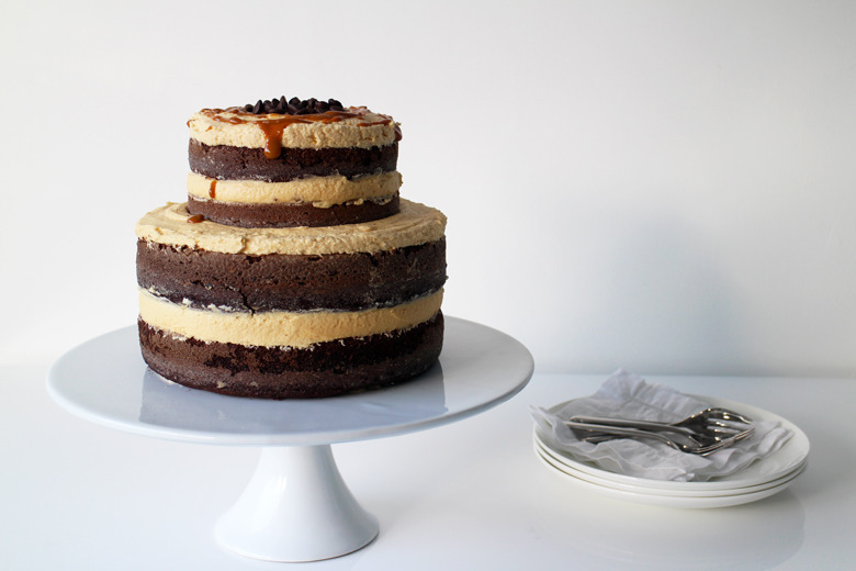 Exposed Chocolate, Coffee and Caramel Layer Cake
