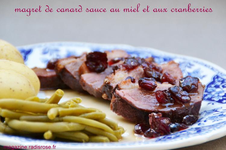 Magret de canard sauce au miel et cranberries