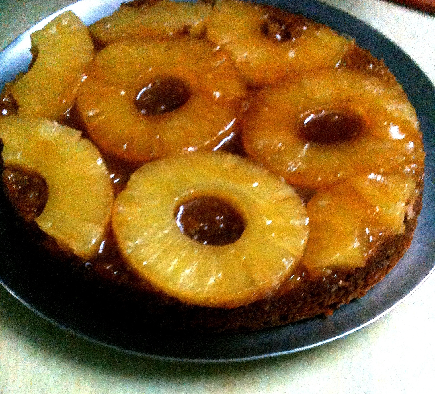 Eggless upside down Pineapple Cake (Pressure Cooker Style)