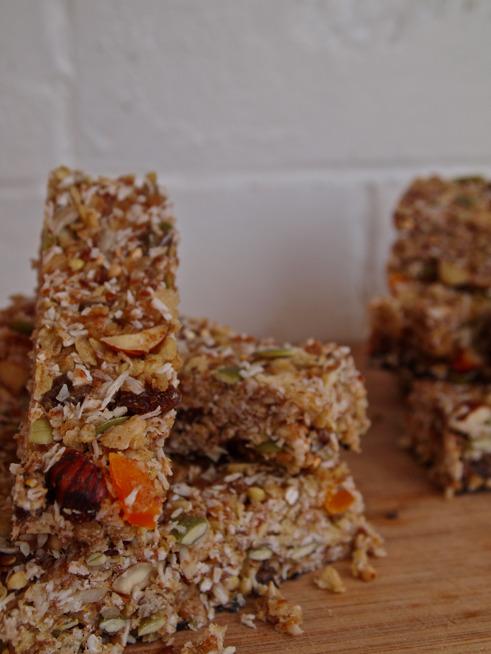 Chewy coconut granola bars. Gluten, Dairy free.