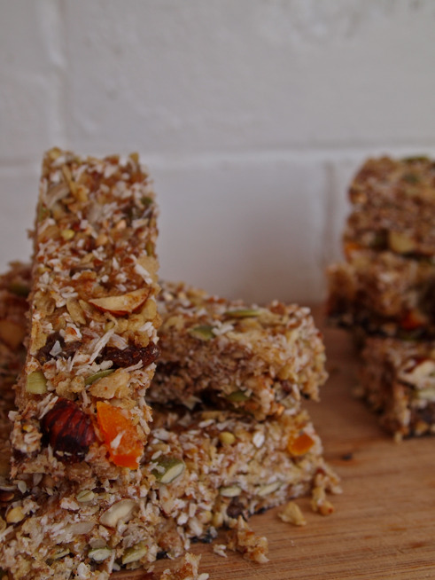 Chewy coconut granola bars. Gluten, Dairy free.