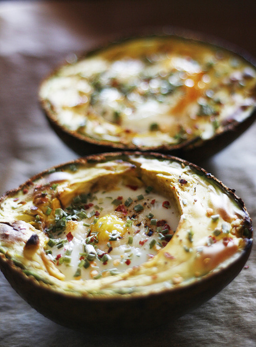 Baked eggs in avocados