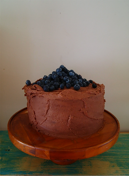 Chocolate blueberry mud cake with marscapone cream frosting. Gluten free.