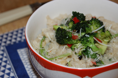 Rocket and ricotta risotto with chilli infused broccoli